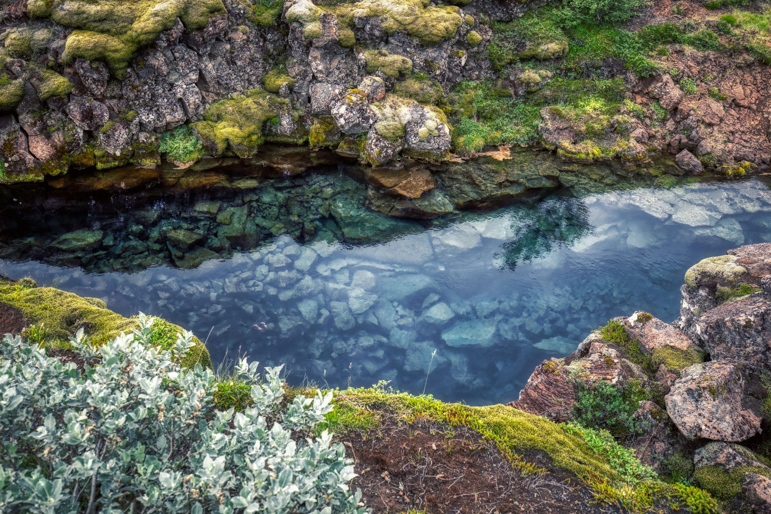 Thingvellir klart vann innsjo nasjonalpark vann Island Reykjavik