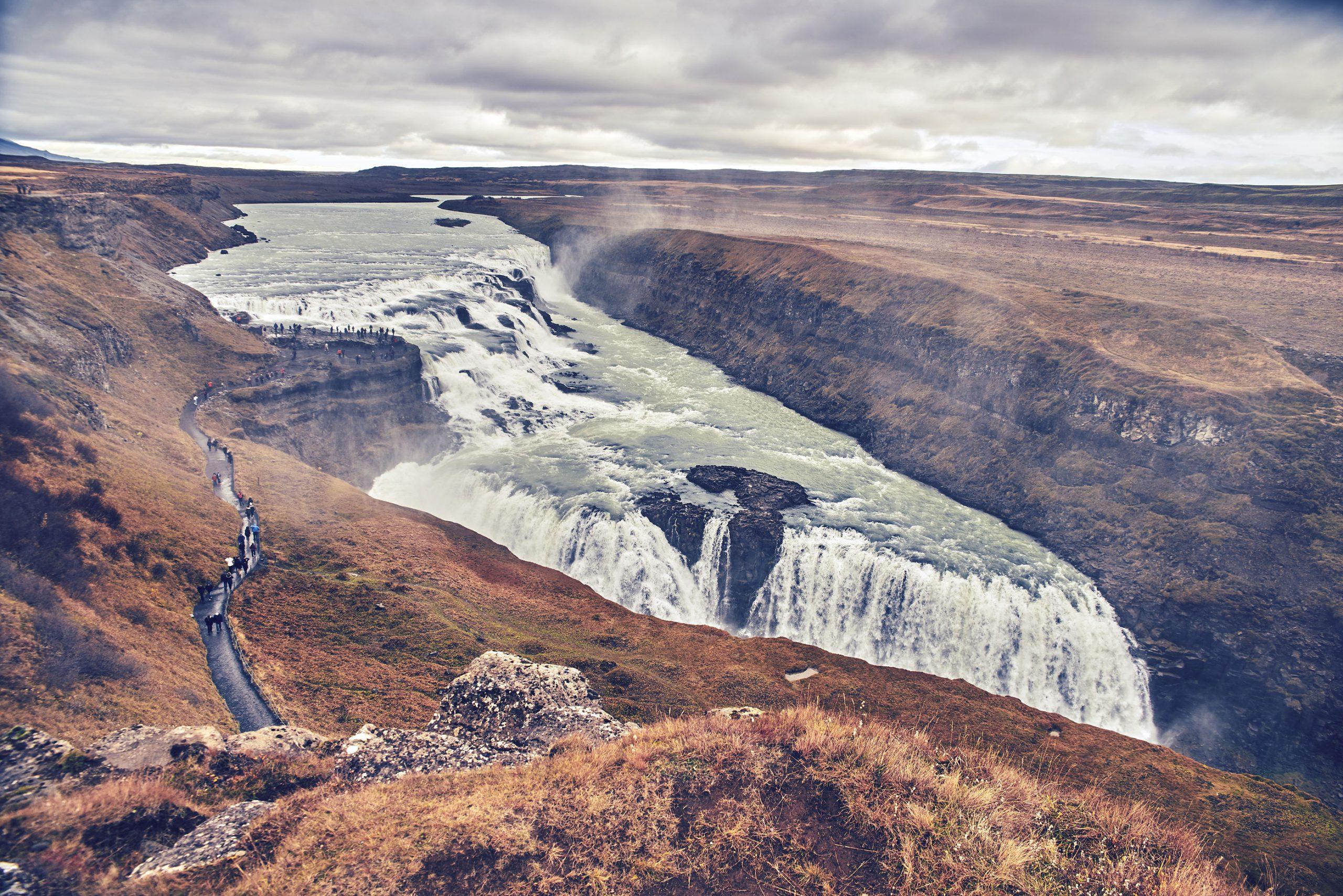 Gullfoss Island Reykjavik Golden Circle fossefall attraksjon turbuss