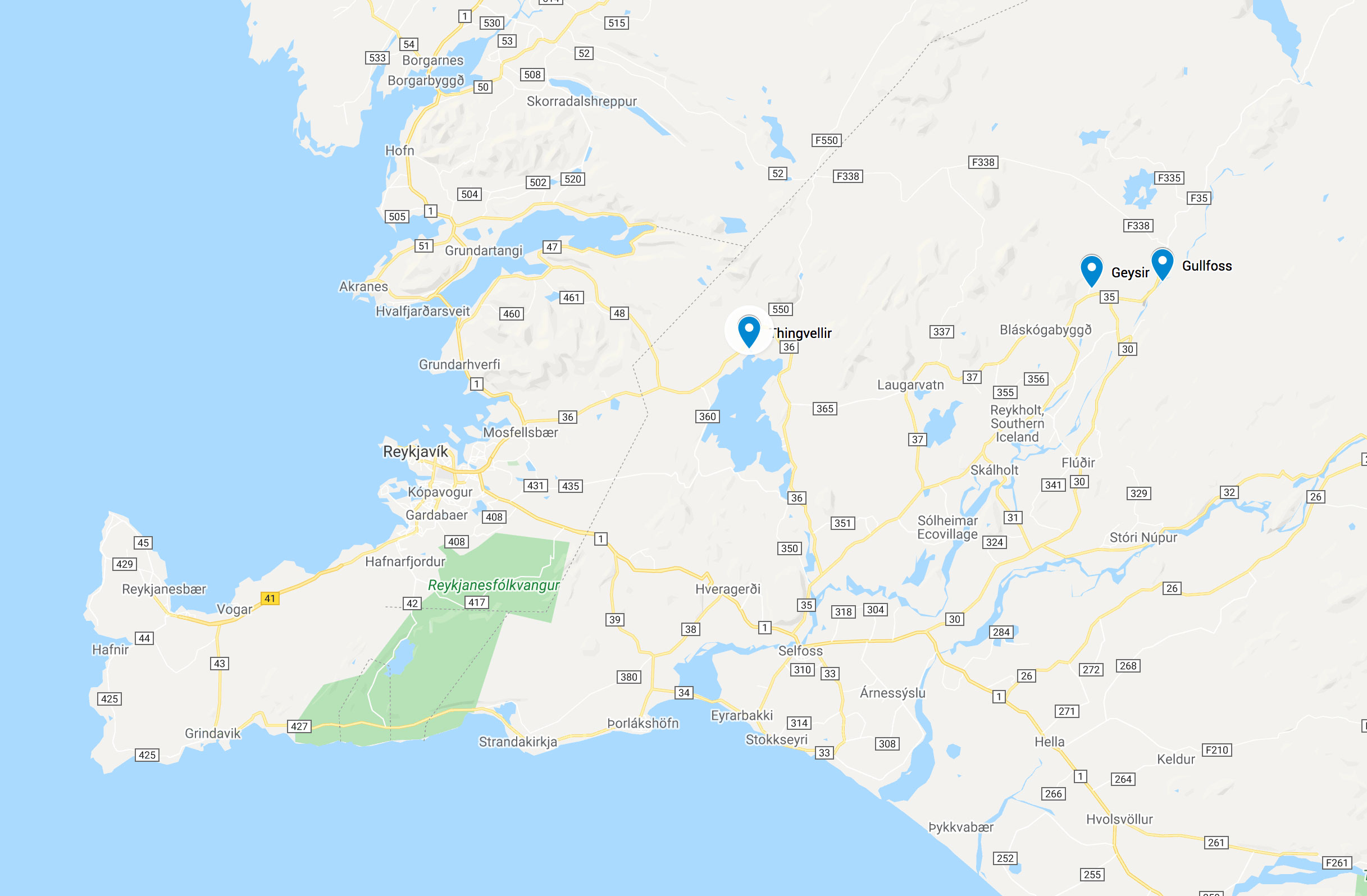 Kart Reykjavik Golden Circle geysir Thingvellir Gullfoss